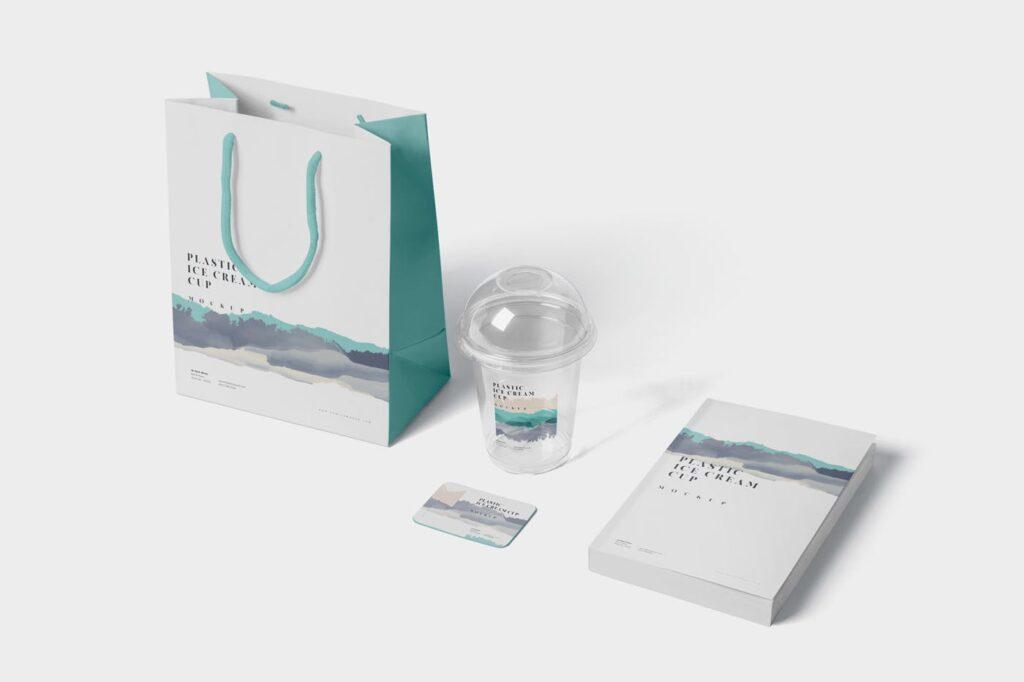 塑料透明冰激凌杯模型样机/品牌包装Transparent Plastic Ice Cream Cup Mockups插图(4)