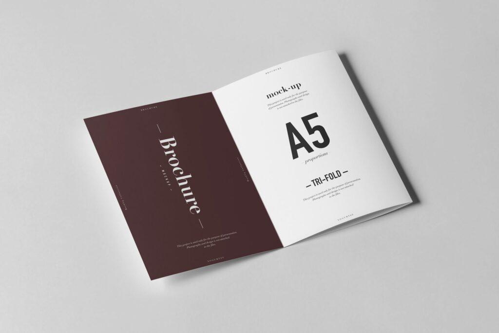三折A5小册子模型素材模板样机下载Tri Fold A5 Brochure Mock up 2插图(4)
