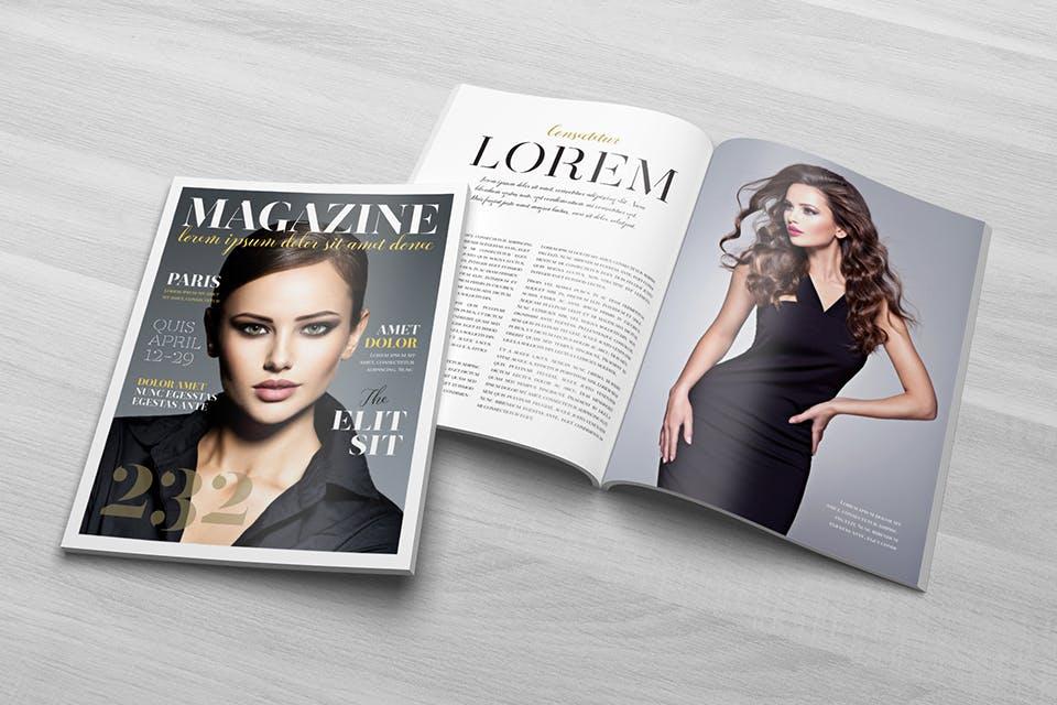 时尚服装杂志/封面/内页样机展示US Letter Magazine Mockup VN7KUN插图(3)
