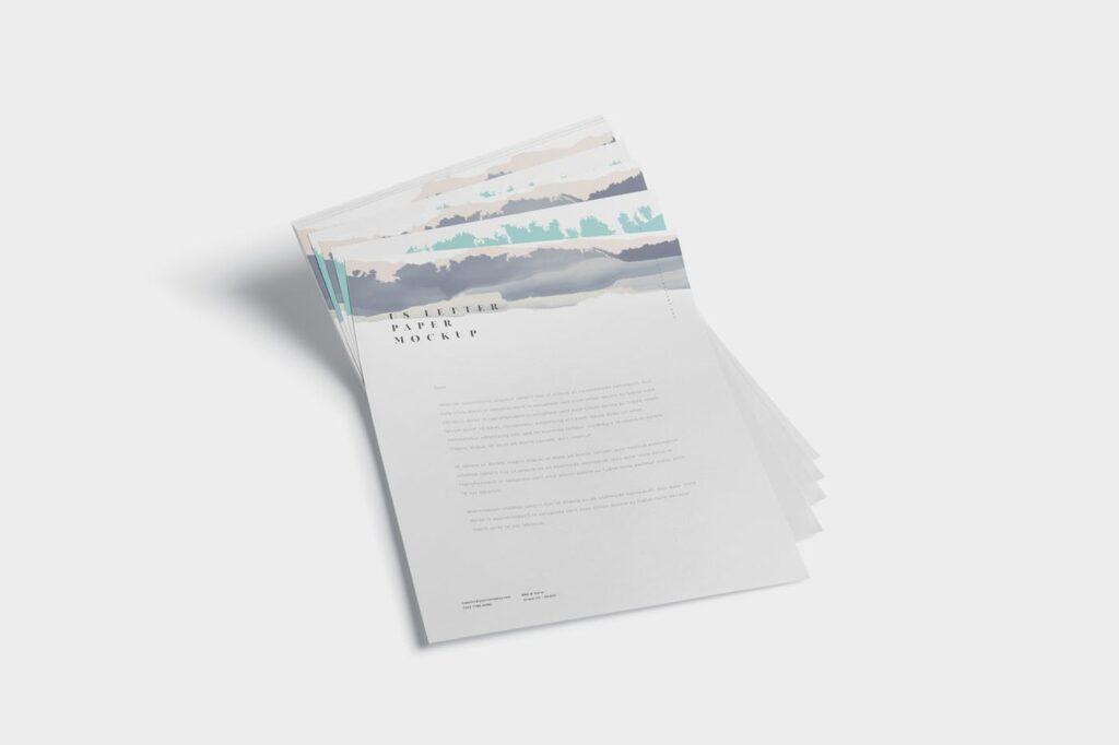 企业宣传传单模型样机效果图下载5 US Letter Paper Mockups插图(5)