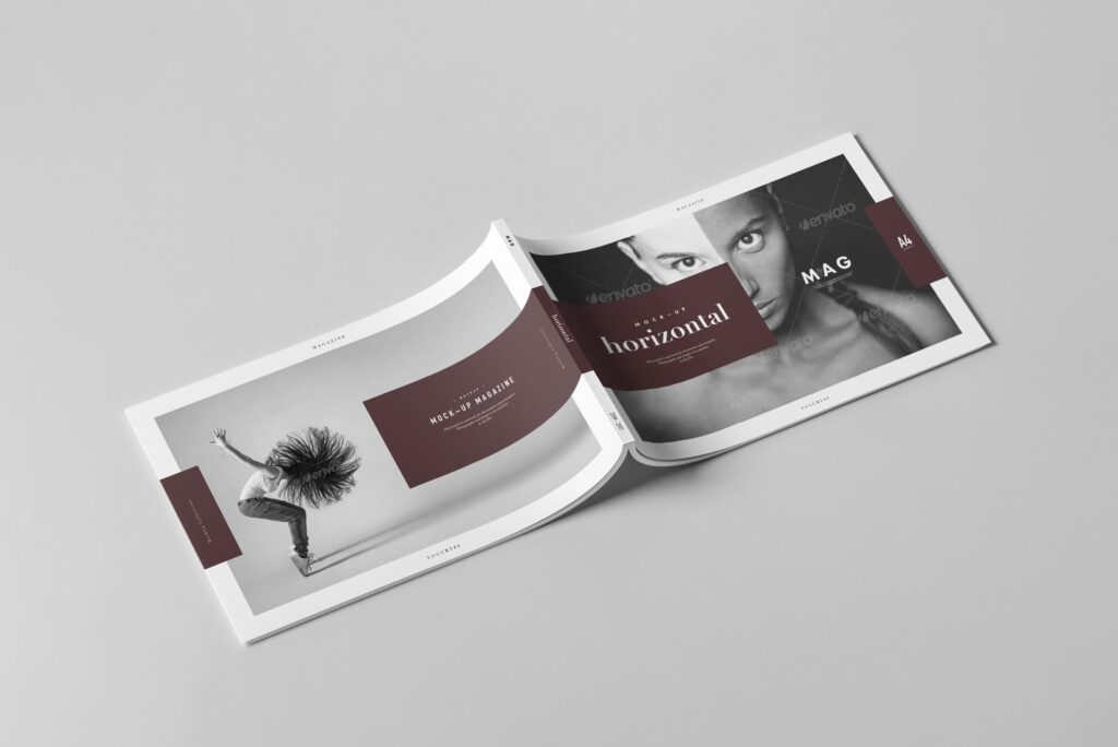 A4横版杂志封面/内页展示样机4 Horizontal Magazine Mockup 3插图(5)