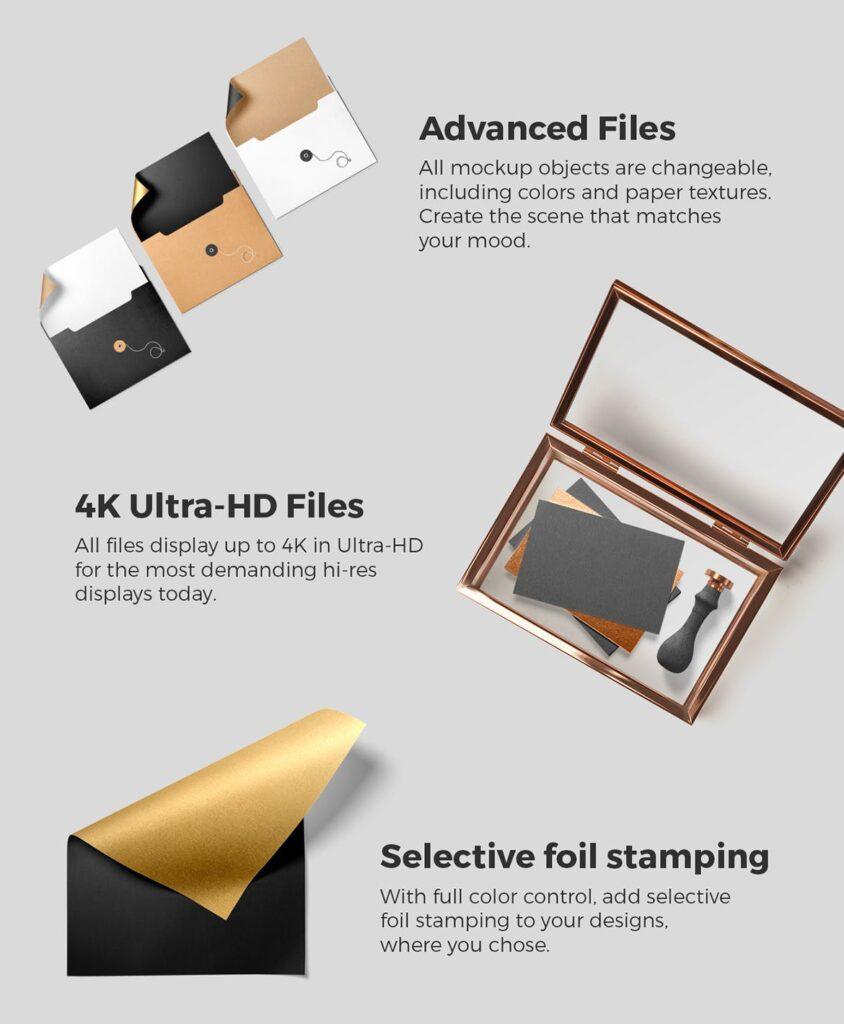 黑金配色品牌VI视觉识别系统模型样机效果图Branding Mockup Essentials Vol5插图(5)
