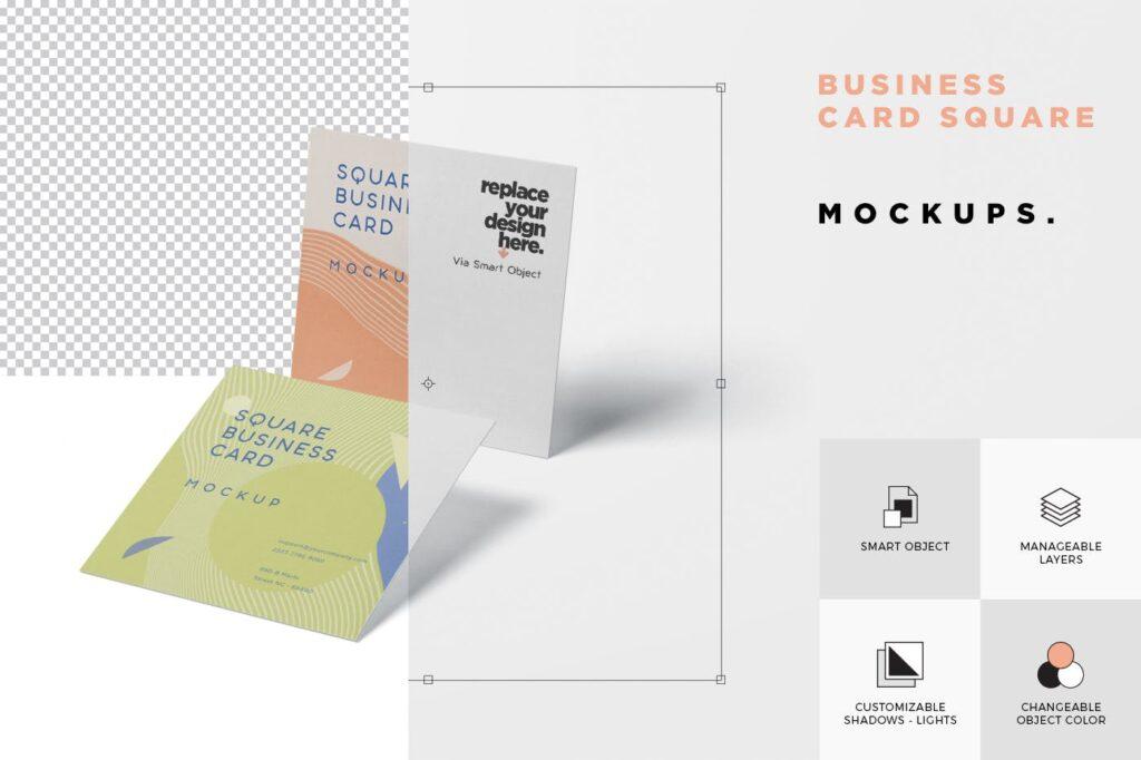 方形商务名片模型样机效果图Business Card Mockup in Square Format插图(5)