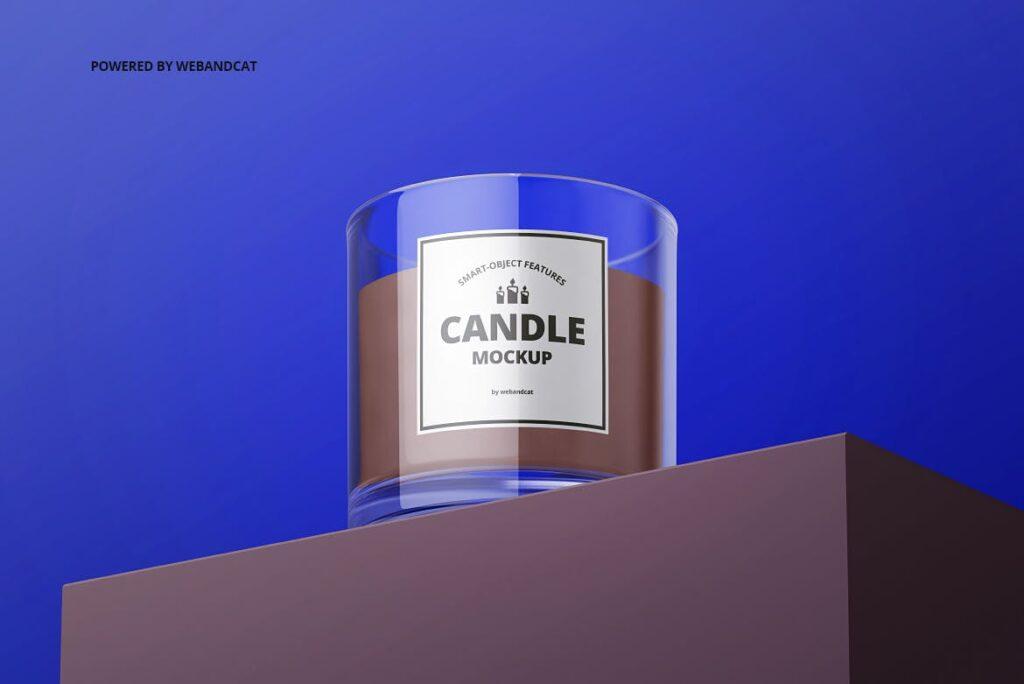5个高质量蜡烛玻璃模型样机展示效果图Candle in Glass Mockup插图(5)