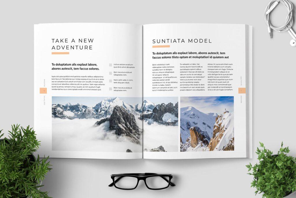 简洁优雅时生活方式或销售展示画册模板素材下载Clean Minimal Magazine Design插图(5)
