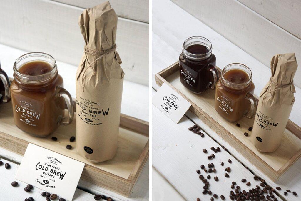 咖啡馆餐饮品牌样机/冷煮咖啡模型样机Cold Brew Coffee Mockup插图(5)