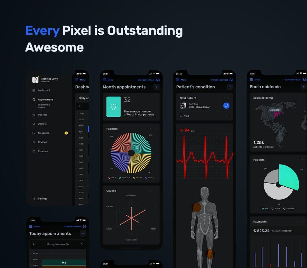 数据统计模板素材移动应用程序界面UI组件模板素材Dark Medical App Dashboard MedUX UI Kit插图(5)