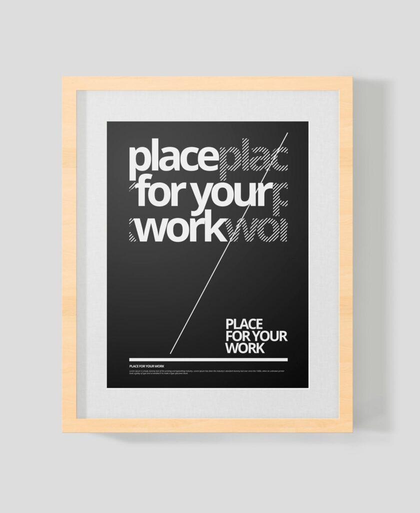 黑白艺术相框模型样机素材下载Frame For Your Work Pd73r4插图(5)