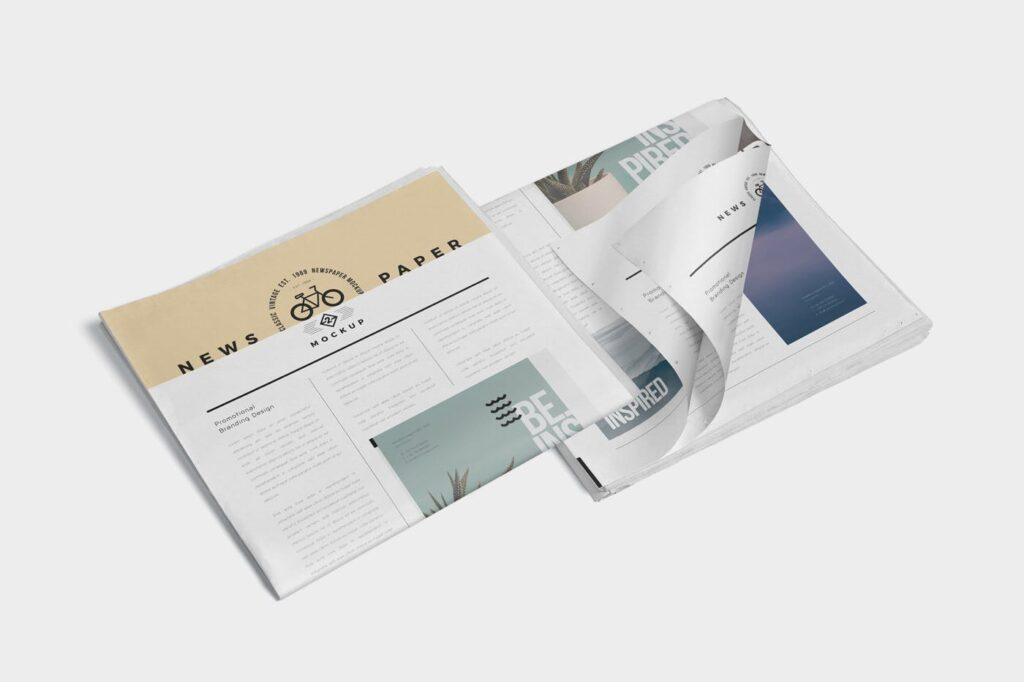 透视角度报纸期刊模型样机效果图Full Page Newspaper Mockups插图(5)