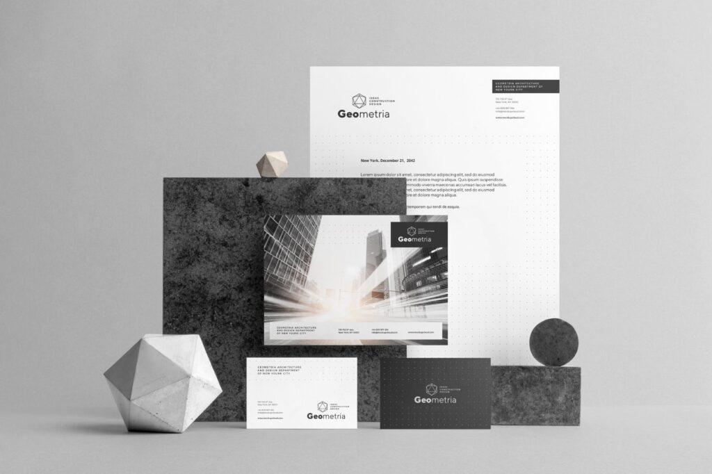 高端轻奢风房地产品牌VI模型样机效果图Geometria Branding Mockup Vol1插图(5)
