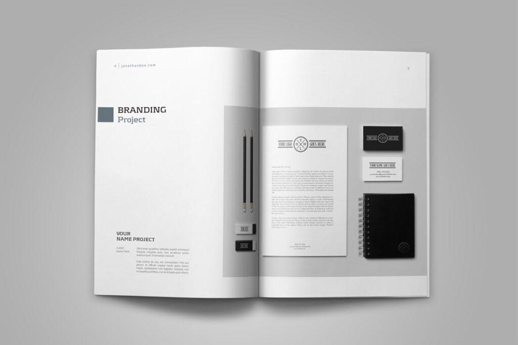 精致文艺平面设计作品集画册模板素材Graphic Design Portfolio Template插图(4)