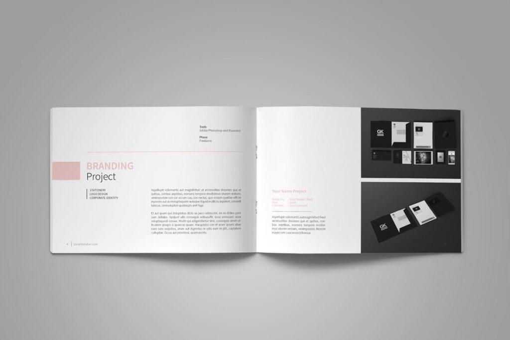 设计师工作产品/室内设计/家居设计展示画册模版Graphic Design Portfolio Template插图(5)