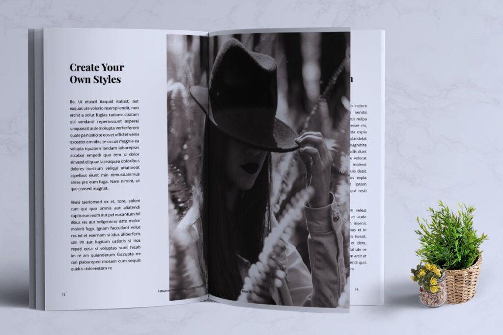 简约风格摄影工作室画册杂志模板HAVANA Minimal Magazine Fashion插图(5)