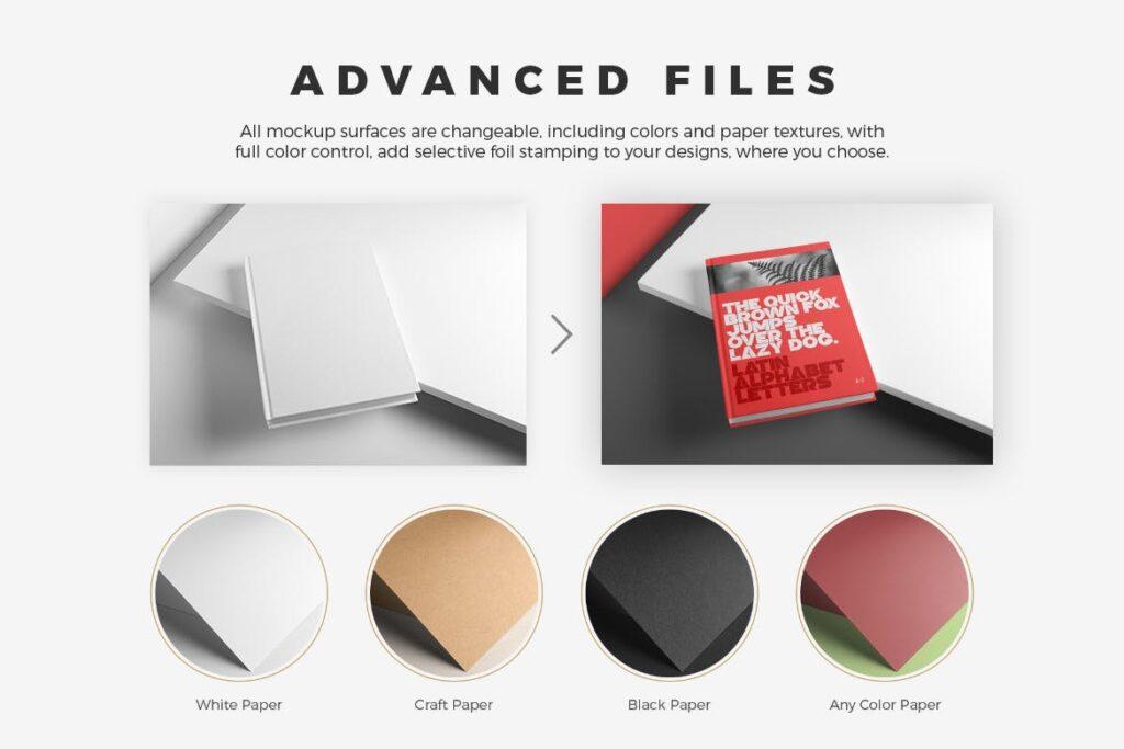 精装书硬卡纸封面PSD模型模板样机效果图Hardcover Book Mockup Vol 1插图(4)