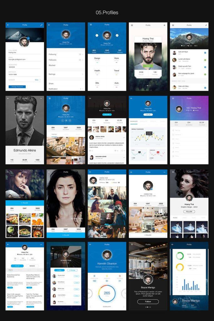 图片社交类应用UI组件模板素材Hexagon Mobile UI Kit插图(5)