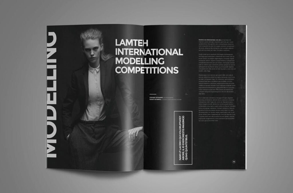 黑白风格历史介绍杂志模版素材InDesign Magazine Template WBM4TW插图(5)