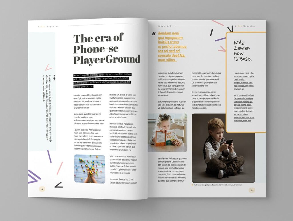 关爱儿童教育/公益事业宣传画册模板Kidea Magazine Template插图(5)