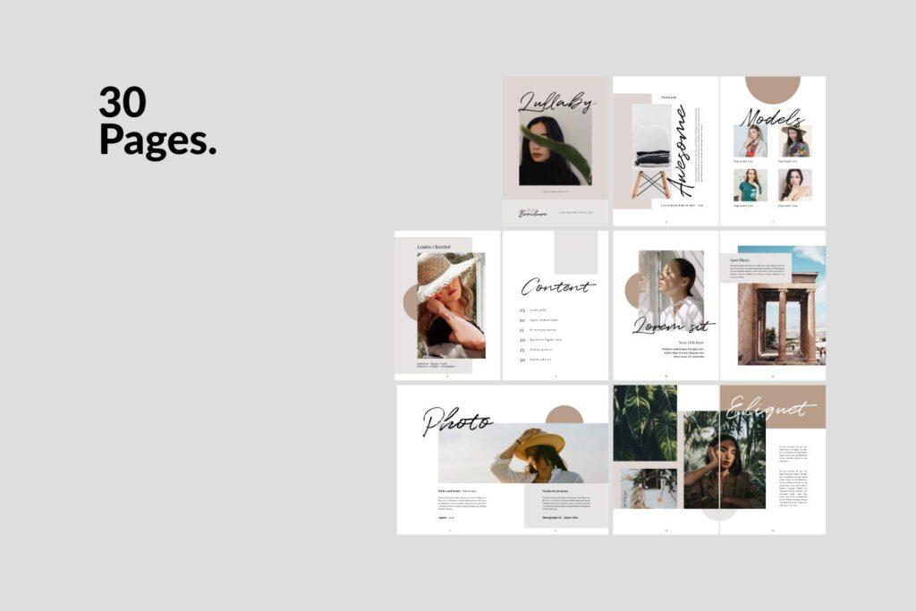时尚企业产品目录/室内设计案例介绍画册模板Lullaby Lookbook Minimal Portfolio Corporate插图(4)
