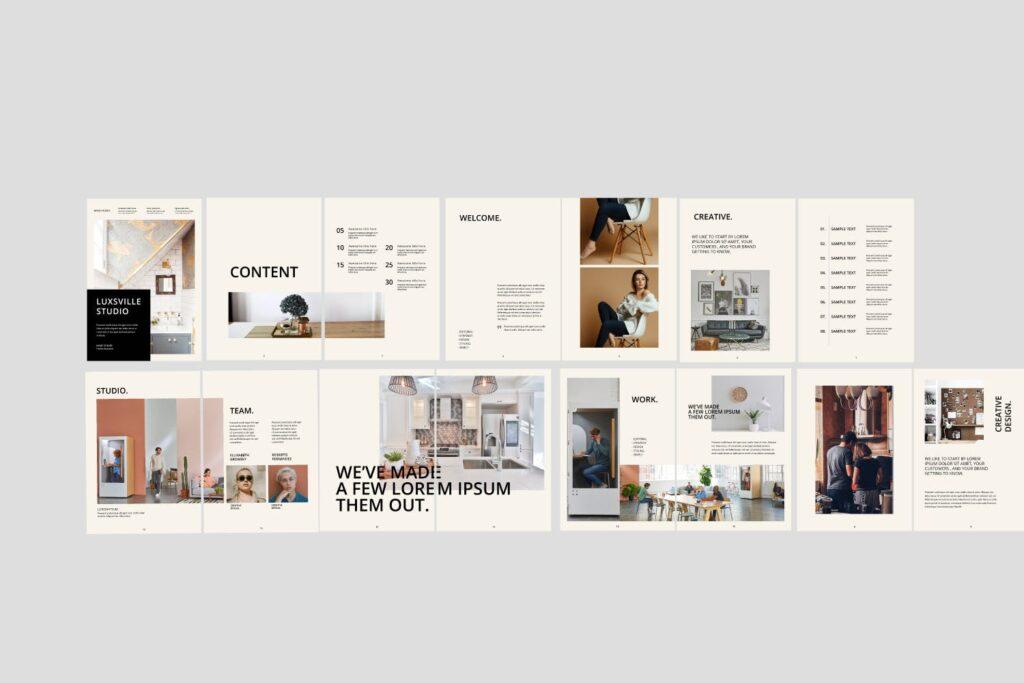 室内设计案例介绍/企业创意产品画册模板Luxville Fashion Magazine插图(5)