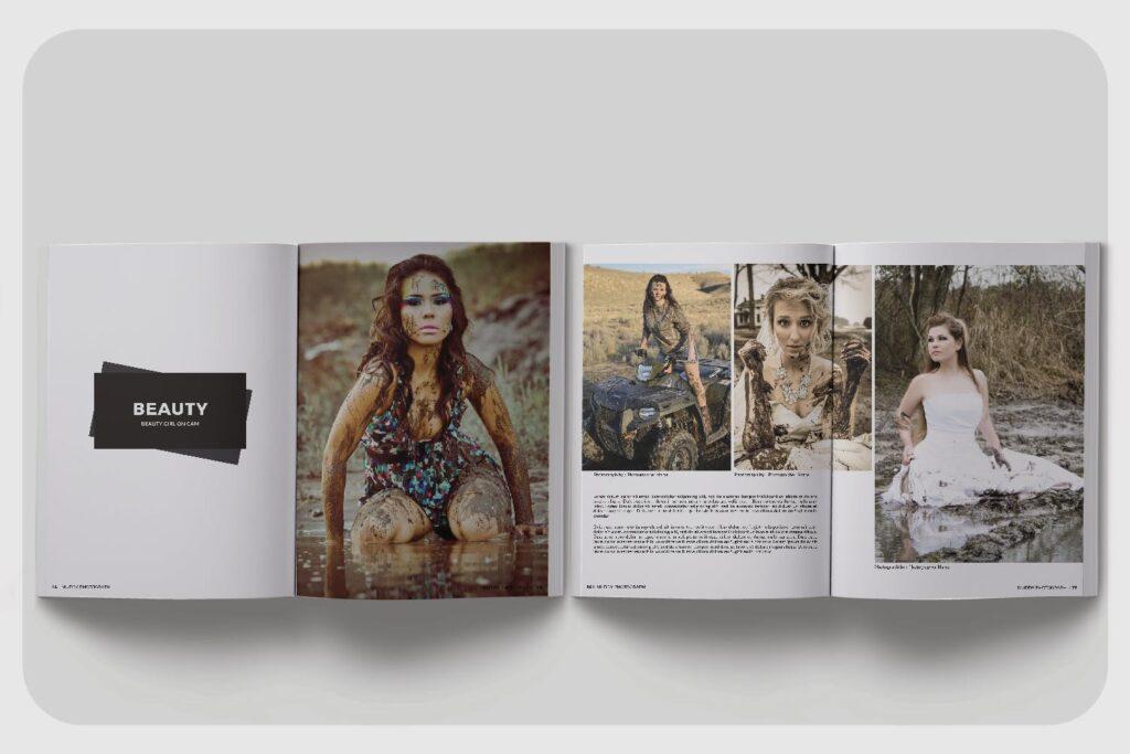 现代简约中性的杂志设计模板Muddy Photograph Magazine Template插图(5)