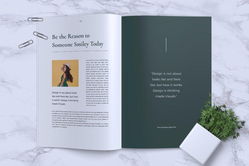 简约企业商务小册子目录/多用途画册模板PLUMERY Minimal Magazines插图(5)