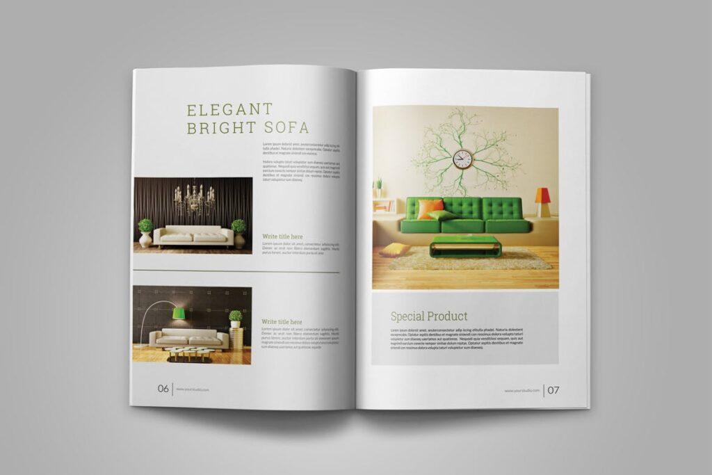 优雅简洁室内设计手册/目录/杂志画册模板PSD Interior Brochures Catalogs Magazine插图(5)