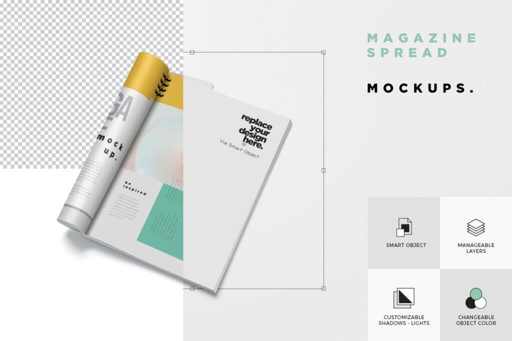 5个多角度精致文艺画册展示样机Realistic Magazine Mockups 24hpnx9插图(5)
