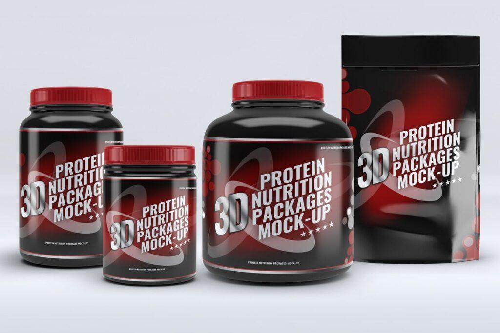 健身营养蛋白粉包装瓶样机模型下载Sport Nutrition Packages MockUp插图(5)
