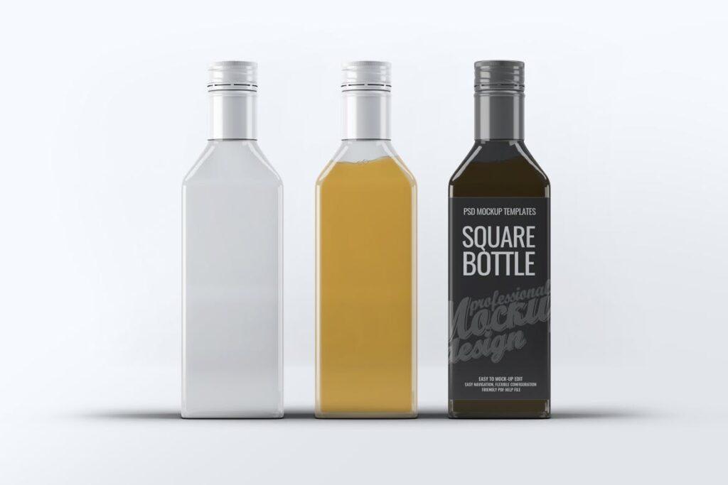 厨房通用调味瓶/黑色方形玻璃瓶模型样机素材Square Glass Bottle MockUp插图(6)