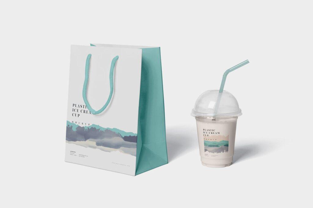 塑料透明冰激凌杯模型样机/品牌包装Transparent Plastic Ice Cream Cup Mockups插图(5)