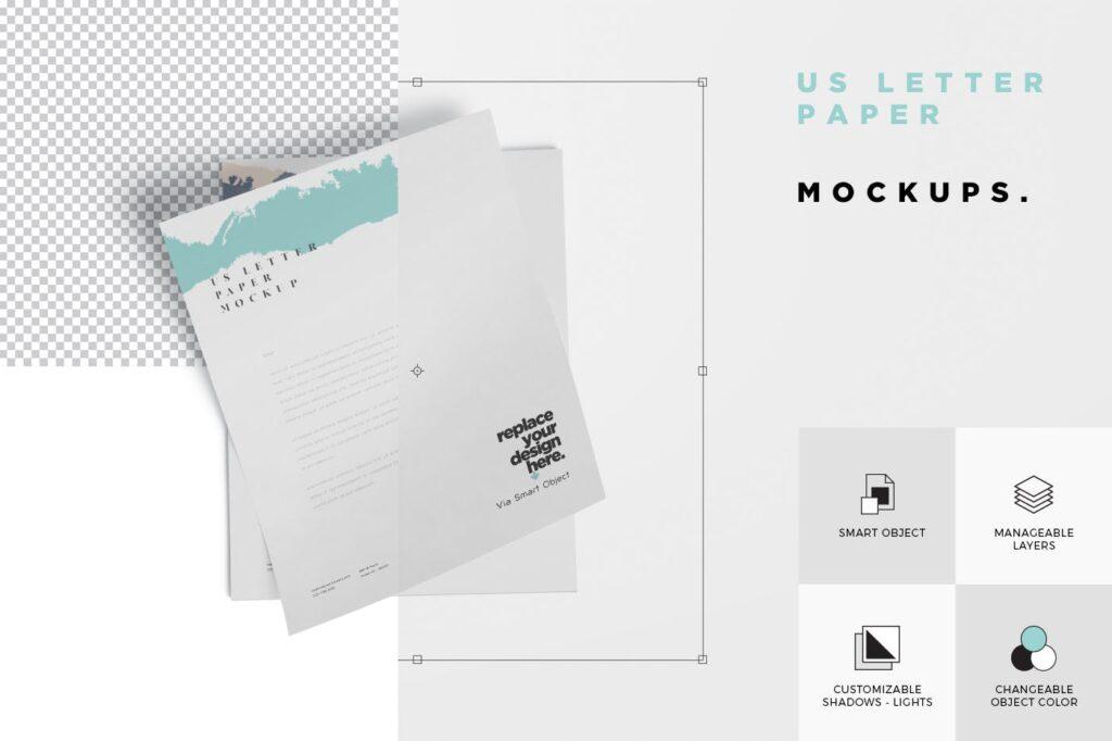 企业宣传传单模型样机效果图下载5 US Letter Paper Mockups插图(6)