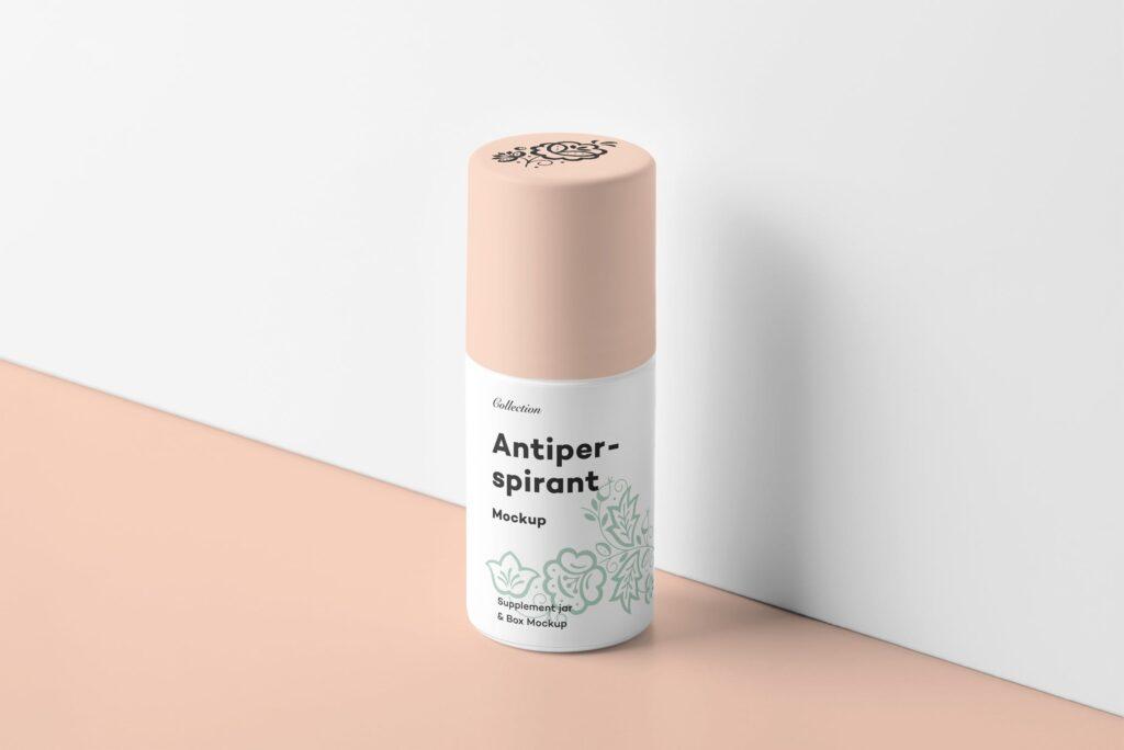 药品包装瓶瓶样机模型效果图下载Antiperspirant Mockup 2插图(6)