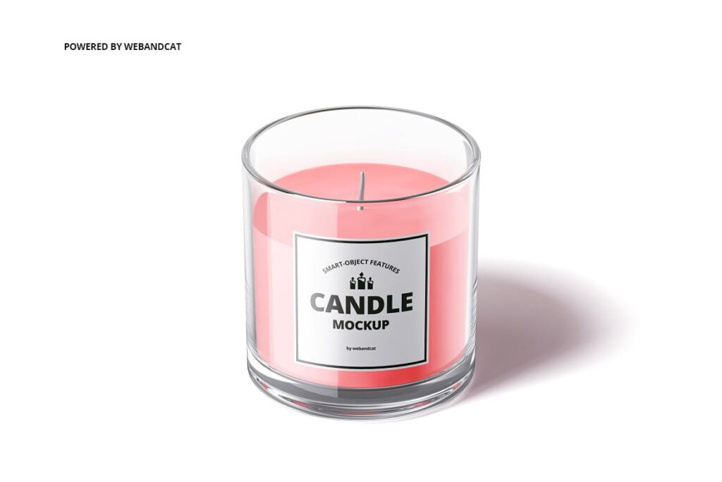 5个高质量蜡烛玻璃模型样机展示效果图Candle in Glass Mockup插图(6)