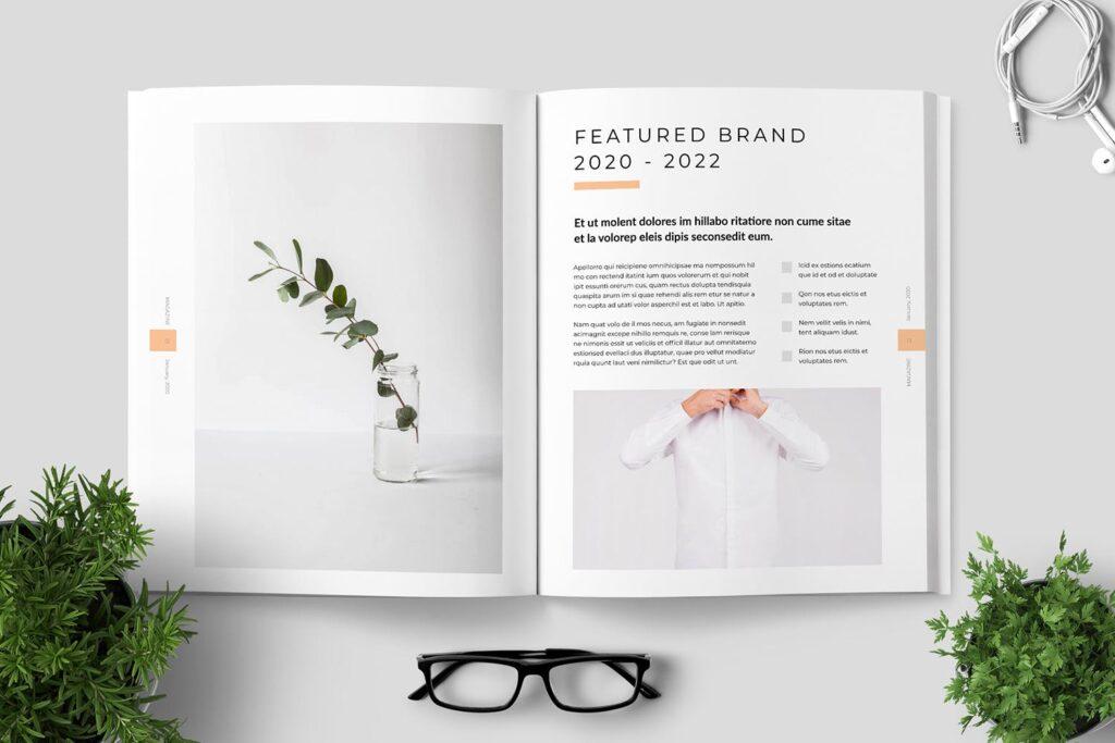 简洁优雅时生活方式或销售展示画册模板素材下载Clean Minimal Magazine Design插图(6)