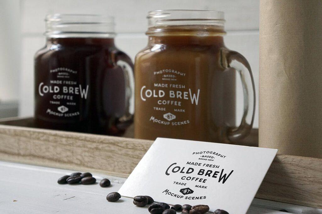 咖啡馆餐饮品牌样机/冷煮咖啡模型样机Cold Brew Coffee Mockup插图(6)