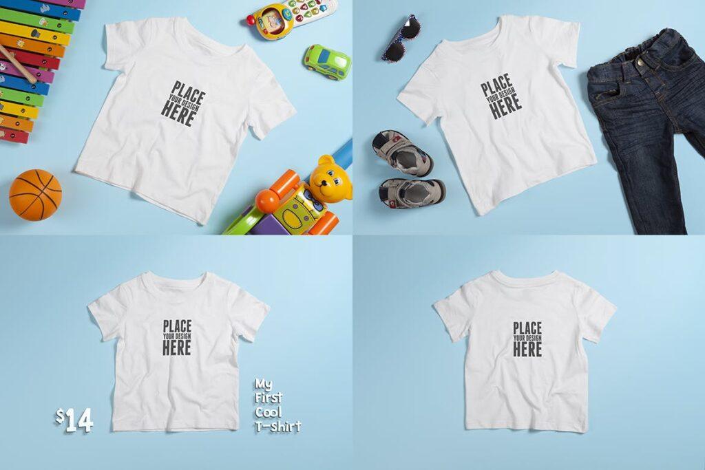 现实照片水手领儿童t恤实物模型样机素材Crew Neck Tshirt Mockup Kids Version插图(6)