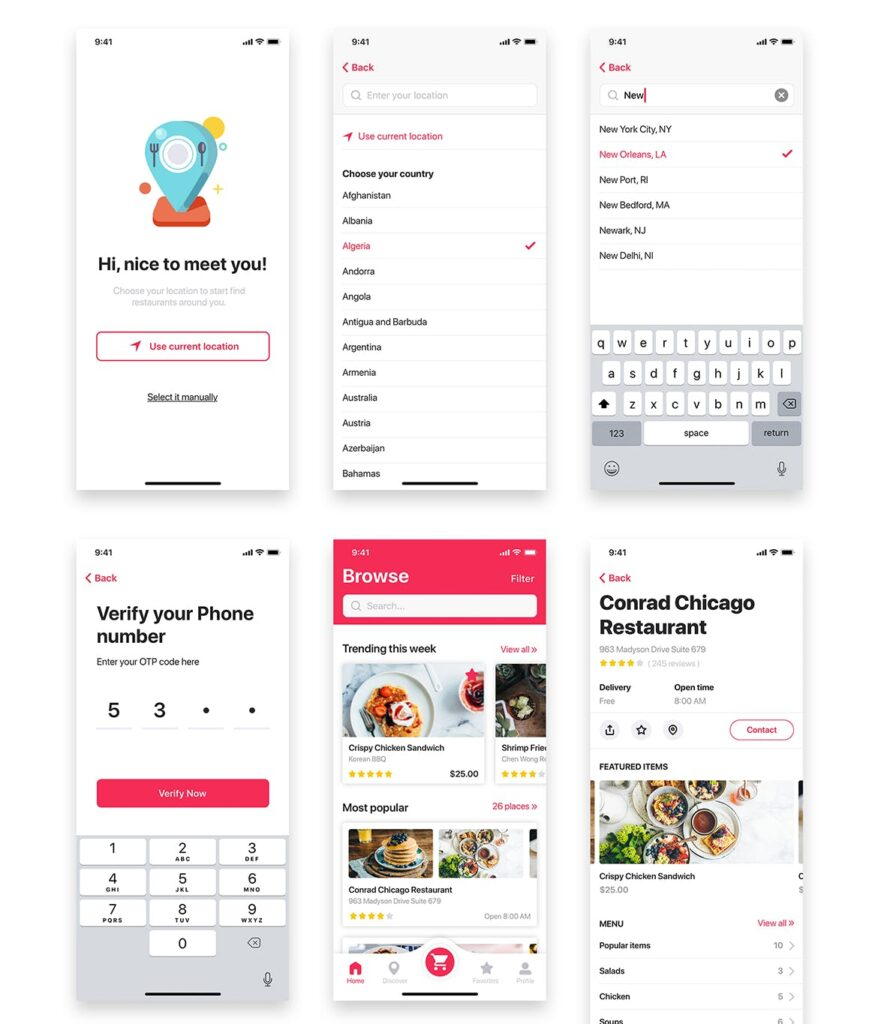 餐厅/食物和食谱应用程序UI组件模板素材Foody Food App UI Kit插图(6)