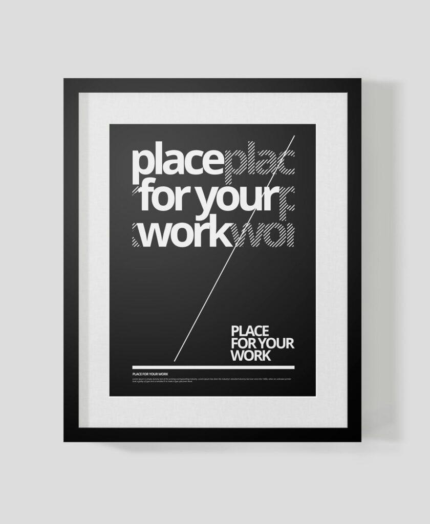 黑白艺术相框模型样机素材下载Frame For Your Work Pd73r4插图(6)