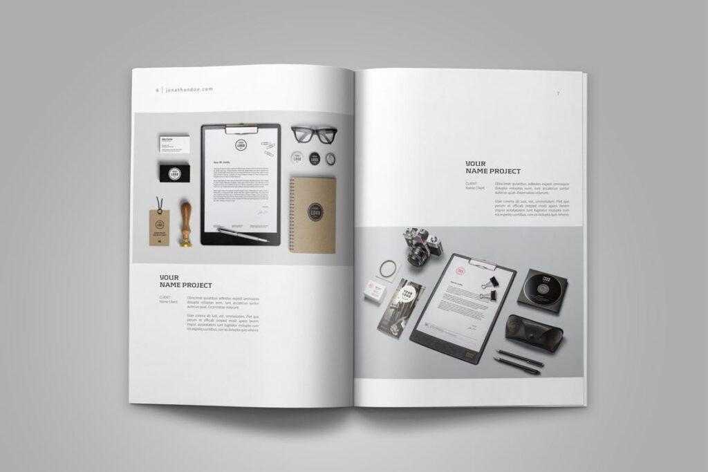精致文艺平面设计作品集画册模板素材Graphic Design Portfolio Template插图(5)
