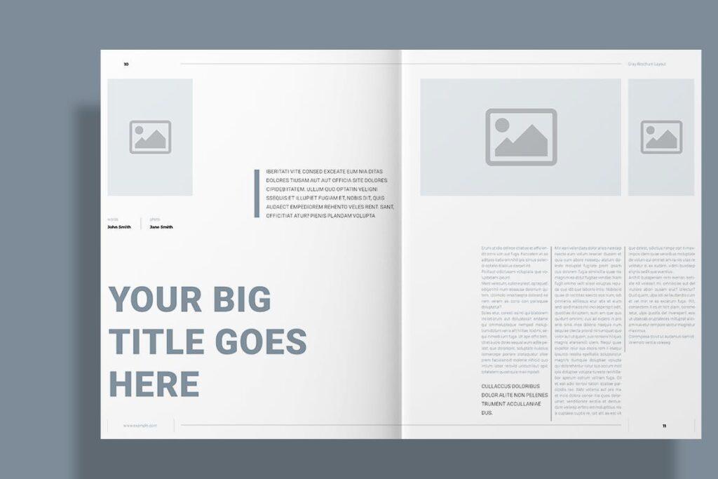 黑白经典艺术摄影画册杂志模板Gray Brochure插图(6)
