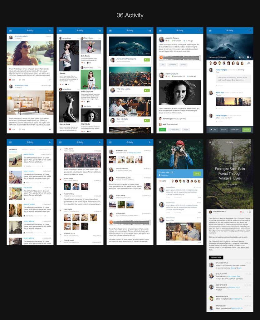 图片社交类应用UI组件模板素材Hexagon Mobile UI Kit插图(6)