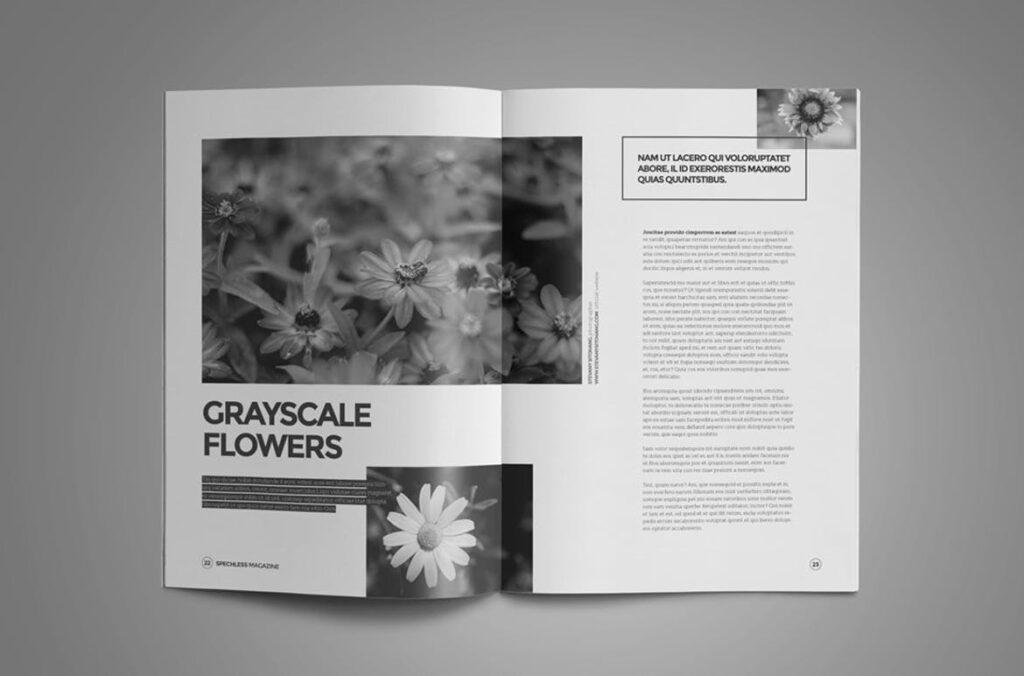 黑白风格历史介绍杂志模版素材InDesign Magazine Template WBM4TW插图(6)
