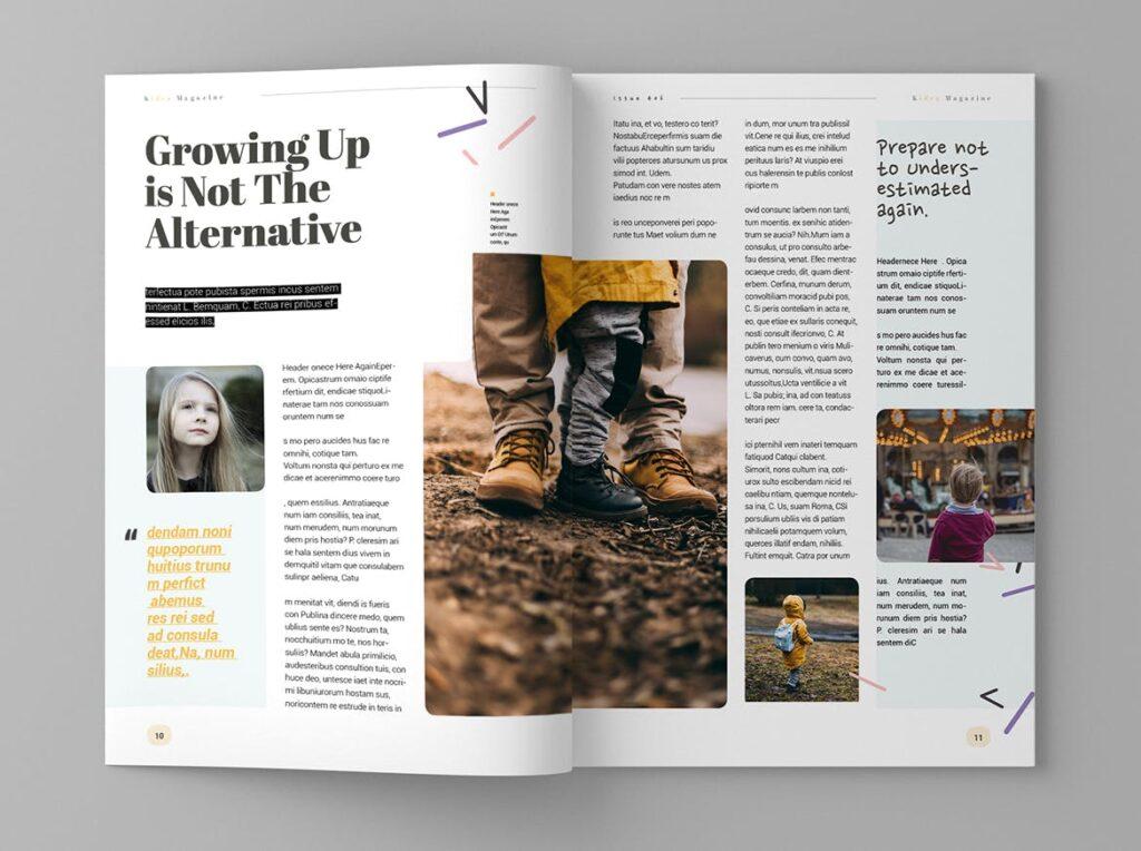 关爱儿童教育/公益事业宣传画册模板Kidea Magazine Template插图(6)