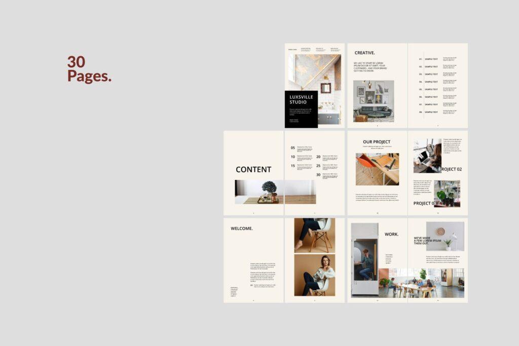 室内设计案例介绍/企业创意产品画册模板Luxville Fashion Magazine插图(6)