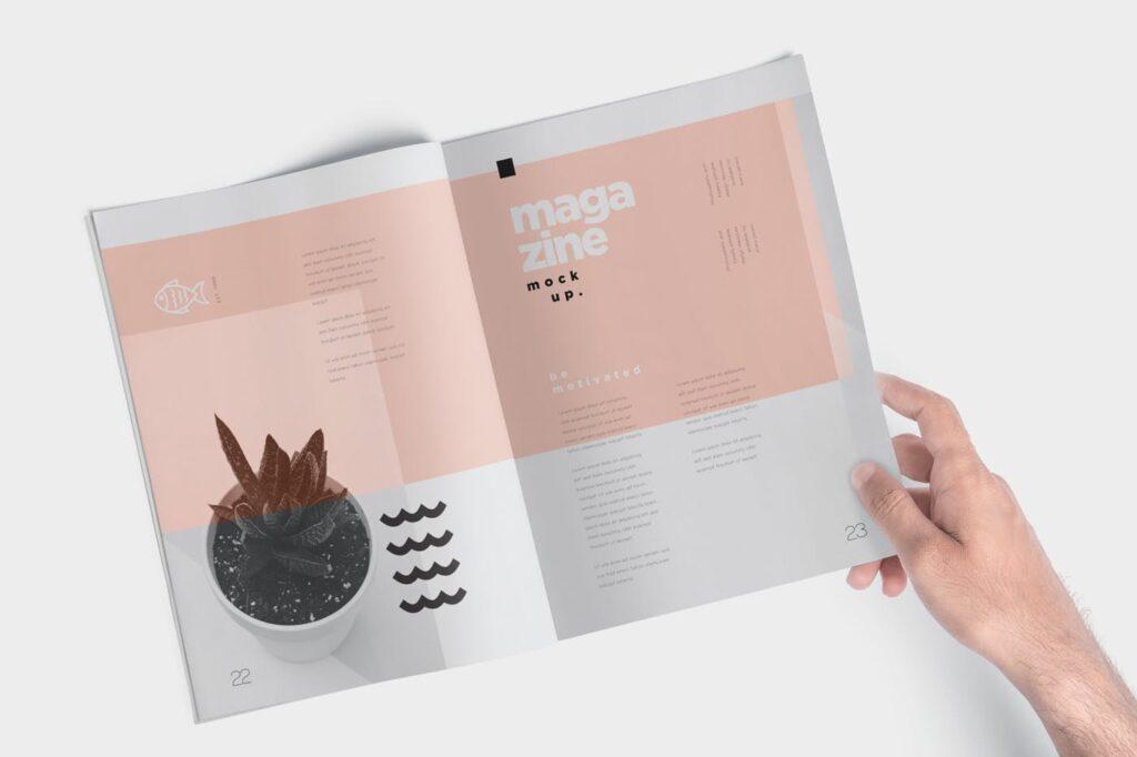 文艺透视角度精致文艺画册样机Magazine Mockups QU4D83K插图(6)