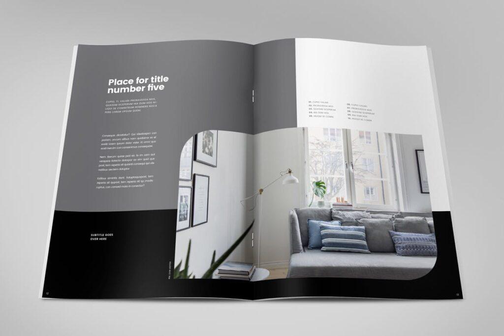 极简室内设计/居家生活美学杂志画册模板Minimal Interior Design Magazine插图(6)