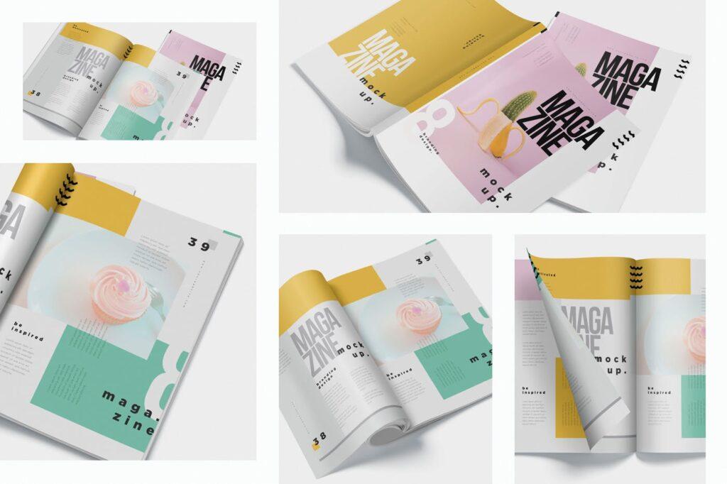 5个多角度精致文艺画册展示样机Realistic Magazine Mockups 24hpnx9插图(6)