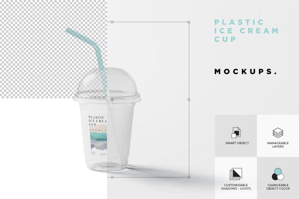 塑料透明冰激凌杯模型样机/品牌包装Transparent Plastic Ice Cream Cup Mockups插图(6)