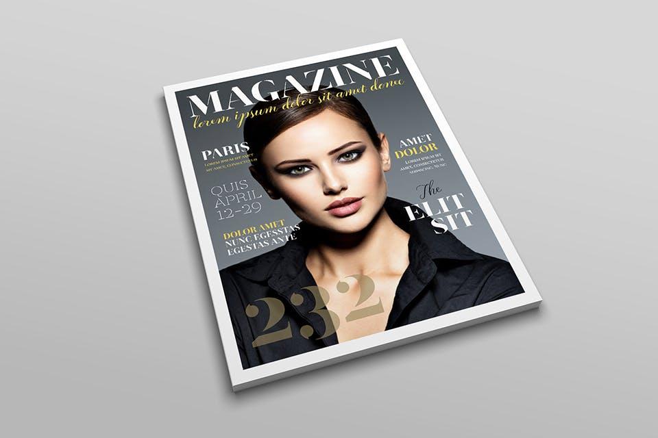时尚服装杂志/封面/内页样机展示US Letter Magazine Mockup VN7KUN插图(4)