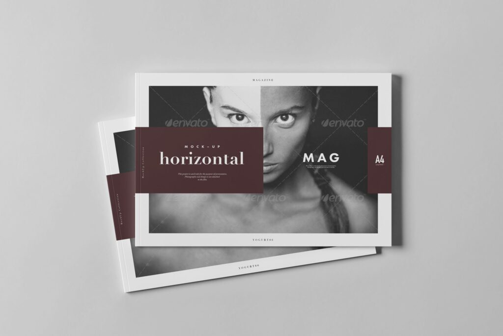 A4横版杂志封面/内页展示样机4 Horizontal Magazine Mockup 3插图(7)